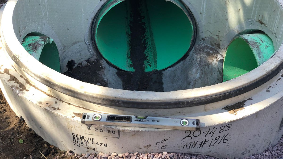 "72"" HDPE lined manhole using an A-Lok gasket. The project is for Brookings Municipal Utilities."