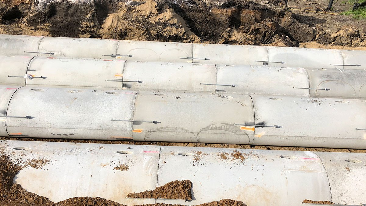This is the same arch installation from the side. You can see how tight the joints are with ease. H&W installed this gasketed arch pipe