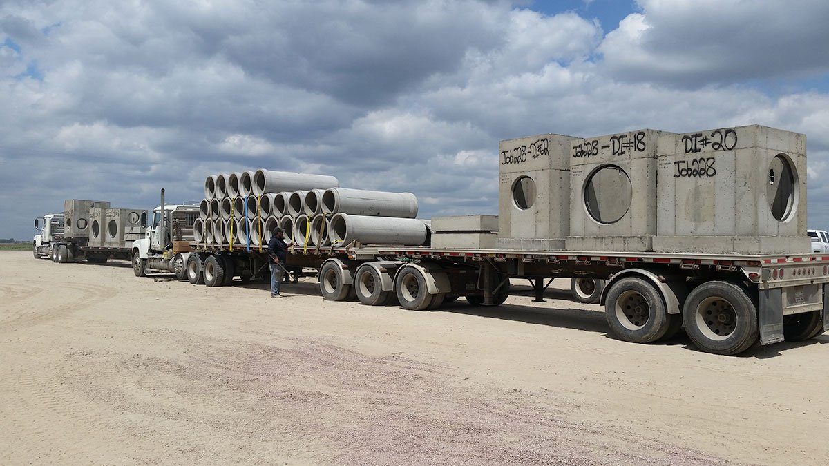 200,000 pounds of precast and pipe ready to ship. All inlets are gasketed as is the pipe.